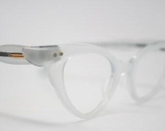 Vintage cat eye glasses silver cateye eyeglasses NOS