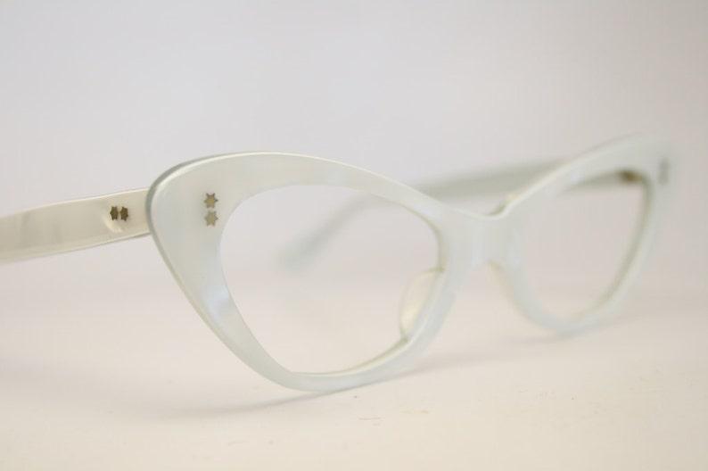 99c1aefbe86 NOS small white cat eye glasses vintage cateye frames