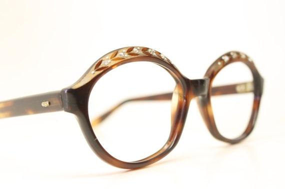 NOS Vintage Tortoise Rhinestone 1960's Eyeglasses