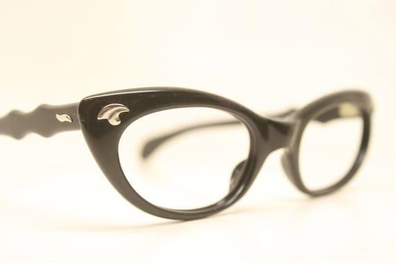 75947952cd9 Cat Eye Glasses Black Vintage 1950s Eyewear Vintage Cateye