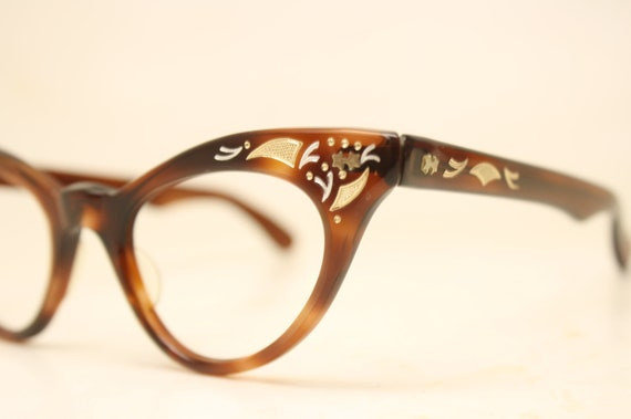 b7965e6c412c Unused Tortoise Gold Vintage Cat eye glasses cat eye frames   Etsy
