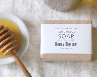 HONEY BLOSSOM - Ellie's Handmade Soap - 100% Natural + Cold Process Olive Oil Soap - 4 ounce bar