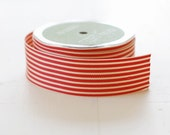 """CLEARANCE - RED + IVORY - 30 Yards of Ribbon - 1.5"""" Wide Striped Grosgrain - Full Spool"""
