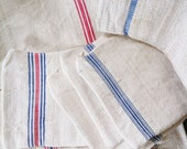 GRAIN SACK Zippered Pouch - Vintage grain sack bag with French Stripes - Blue Stripes