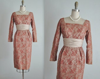 50's Lace Dress // Vintage 1950's Bronze Lace Illusion Fitted Cocktail Party Evening Dress XS