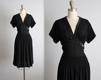 40's Sequin Dress // Vintage 1940's Sequined Black Rayon Swing Dress M