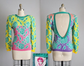 80's Betsey Johnson Punk Label Sweater // Vintage 1980's Betsy Johnson Punk Face Label Floral Cut-Out Back Colorblock Sweater XS S