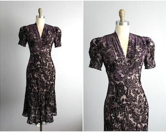 90's Does 40's Vivienne Tam Cut Velvet Dress // Vintage 1990's Vivienne Tam Burnout Velvet Bias Cut Cocktail Party Evening Dress XS
