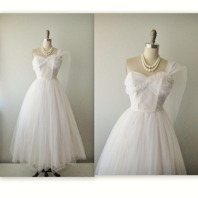 50s Wedding Dress // Vintage 50s Strapless White Tulle Wedding Dress Gown XS