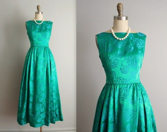 60's Evening Gown // Vintage 1960's Emerald Floral Brocade Cocktail Party Dress Gown XS