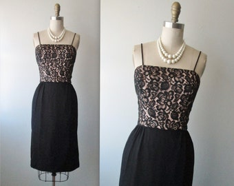 50's Wiggle Dress // Vintage 1950's Black Illusion Lace Cocktail Party Wiggle Dress XS