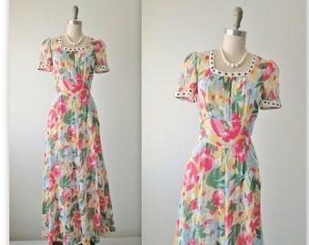 40's Floral Dress // Vintage 1940's Floral Print Voile Full Length Garden Party Dress Gown