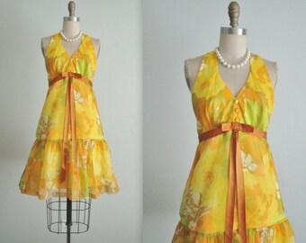 60's Floral Chiffon Dress // Vintage 1960's Floral Print Chiffon Gardem Cocktail Party Dress