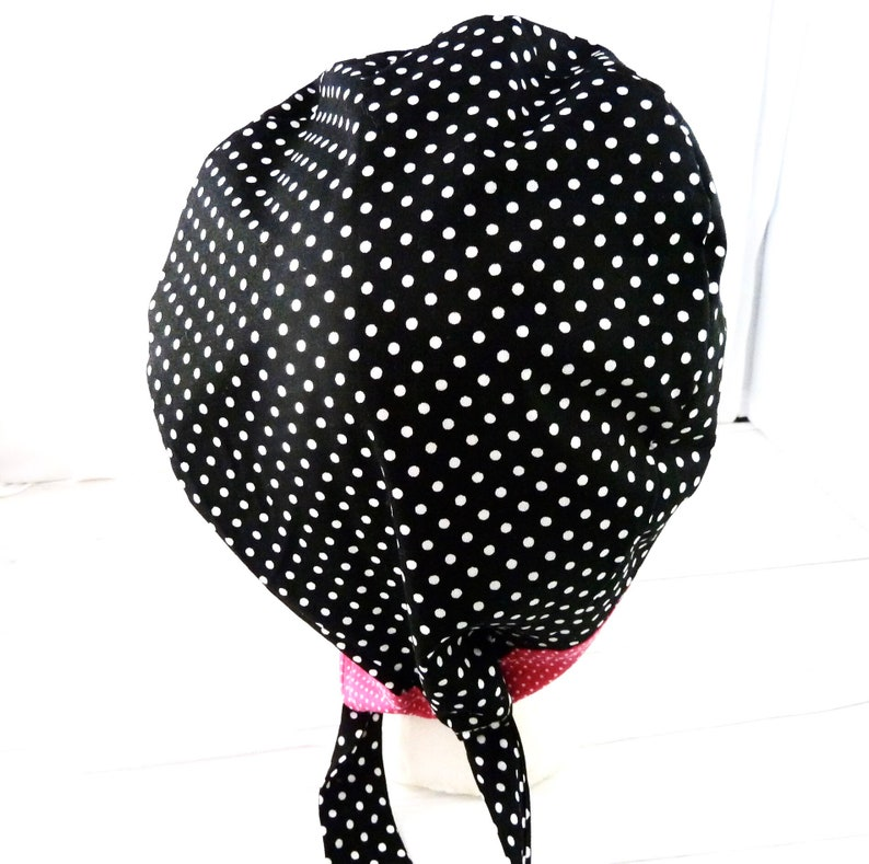 Scrub Surgical Chemo Cap Vet Tech Hat Black /& White Polka Dots Cap Ribbon To Adjust And Buttons On Side For Face Mask Adult Size