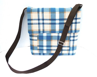 Messenger Bag Blue Plaid With Adjustable Strap Tablet Magazine Travel Pocket In Front And Back Two Small Pockets Inside