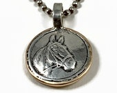 Horse Necklace, Gift For Her, Horse Jewelry, Mixed Metal Jewelry Gift, Artisan Made Jewelry, Equestrian Jewelry,  Robin Wade Jewelry, 2960
