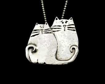 Cat, Cat Jewelry, Sterling Cat Necklace, Unusual Jewelry, Gift For Women, Gift For Mom, Sterling Silver Jewelry, Robin Wade Jewelry, 2637