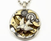 Unusual Necklace, Time Flies, Steampunk Necklace, Inspirational, Gift For Mom, Watch Parts Necklace, Gift For Her, Robin Wade Jewelry, 2855