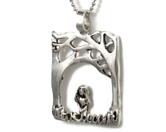 Meditation Jewelry Gift For Women, Silver Inspiration Jewelry, Nature Jewelry For Her, Robin Wade Jewelry, Quinn Meditates In Nature, 2439