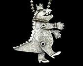 Godzilla, Gift For Women, Fantasy Jewelry, Unusual Jewelry, Gift For Girlfriend, Artisan Jewelry, Gift For Friends, Robin Wade Jewelry, 2843