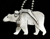 Book Lover Gift, Bear Necklace, Bear Jewelry, Gift For Mom, Unique Jewelry, Gift For Her, Reading Books, Pendant, Robin Wade Jewelry, 2895