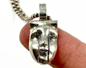 Face Necklace, Unique Necklace, Gift For Women, Boho Jewelry, Articulated Jewelry, Gift For Girlfriend,  Mental Jewelry, Robin Wade, 3014