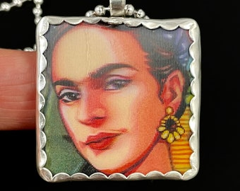Frida Necklace, Hologram Jewelry, Fun Frida Necklace, Gift For Her, Unique Jewelry, Handmade Gift, Artisan Made, Robin Wade Jewelry, 3075