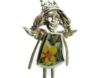 Silver Inspirational Jewelry, Sterling Angel Jewelry For Women, Jewelry With Flowers Women, Robin Wade Jewelry, Angel Bianca Blossoms, 1140