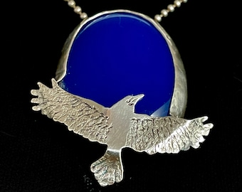 Bird Necklace, Flying Bird Jewelry, Gift For Girlfriend, Unusual Jewelry, Sterling Silver Jewelry, Gift For Mom, Robin Wade Jewelry, 3082