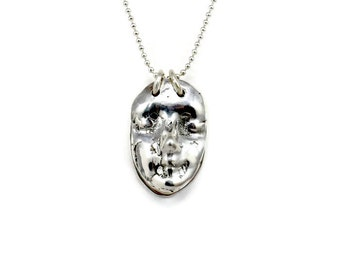 Sterling Meditation Jewelry, Yoga Jewelry Necklace, Silver Face Jewelry, Robin Wade Jewelry, Breathe, Calm, Inspirational Face Pendant, 2253