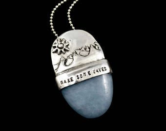 Silver Inspirational Jewelry, Unusual Jewelry Gift For Women, Sterling Meaningful Jewelry, Robin Wade Jewelry, Make Some Waves Pendant, 2547