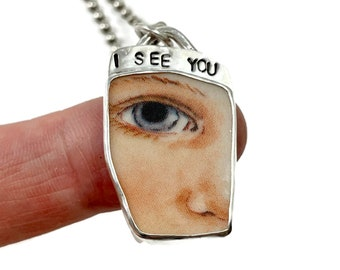 Eye Necklace, Ceramic Necklace, Jewelry For Women, Handmade Gift, I See You, Gift For Girlfriend, Unique Jewelry, Robin Wade Jewelry, 3079