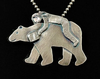 Book Lover Gift, Bear Necklace, Bear Jewelry, Gift For Friend, Unique SilverJewelry, Gift For Her, Book Lovers Gift, Robin Wade Jewelry,3085