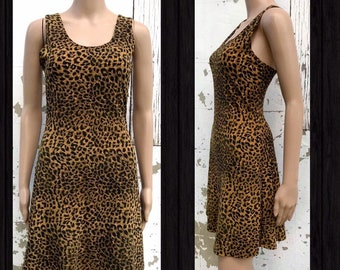 1980s Vintage Darcy  Lord and Taylor Leopard Print Mini Dress  80s  Eighties Metallic Gold Foil Cowl Neck Party Dress  Size Large
