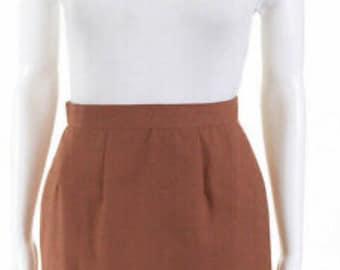af70f3df2c838b Pencil Skirt / Short Pencil Skirt / Slim Skirt / Ginger / Crepe Skirt /  1980s Skirt / Size Small / Mod Ecran France / Women's Skirt / Brown