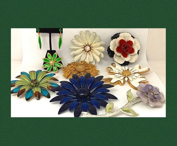 Enamel Flower Pins Vintage Metal Flower Brooch Bri