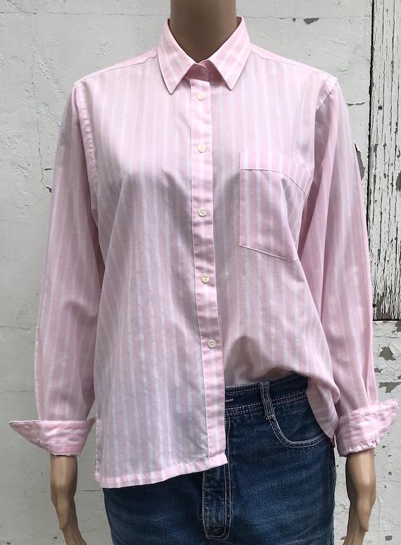 Pink Striped Blouse 1980s Dress Shirt Women's Dre… - image 5