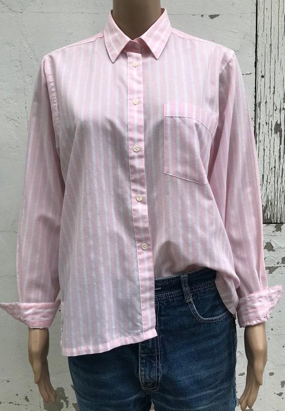 Pink Striped Blouse 1980s Dress Shirt Women's Dre… - image 8