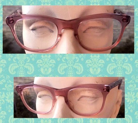 Pink Eyeglasses Cat Eye Glasses Vintage Eyeglasses