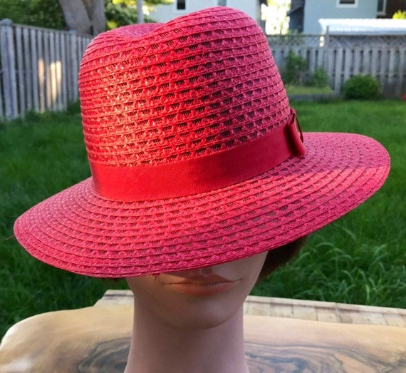 Straw Hat Women's Vintage Hat Red Straw Hat Derby