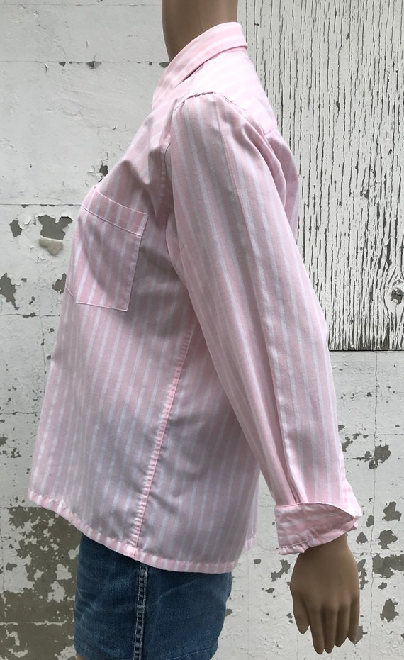 Pink Striped Blouse 1980s Dress Shirt Women's Dre… - image 4