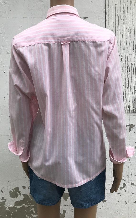 Pink Striped Blouse 1980s Dress Shirt Women's Dre… - image 9