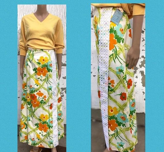 Wrap Skirt Maxi Skirt Wrap Around Skirt Vintage Sk