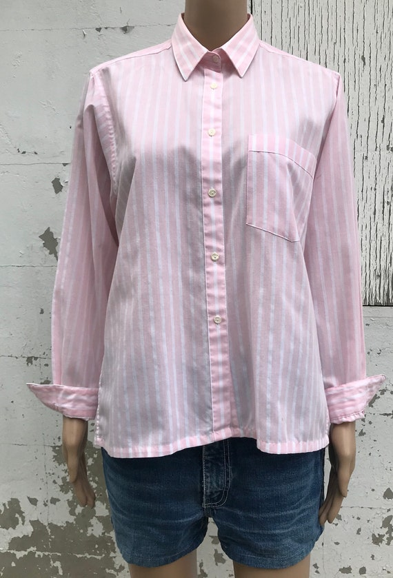Pink Striped Blouse 1980s Dress Shirt Women's Dre… - image 7