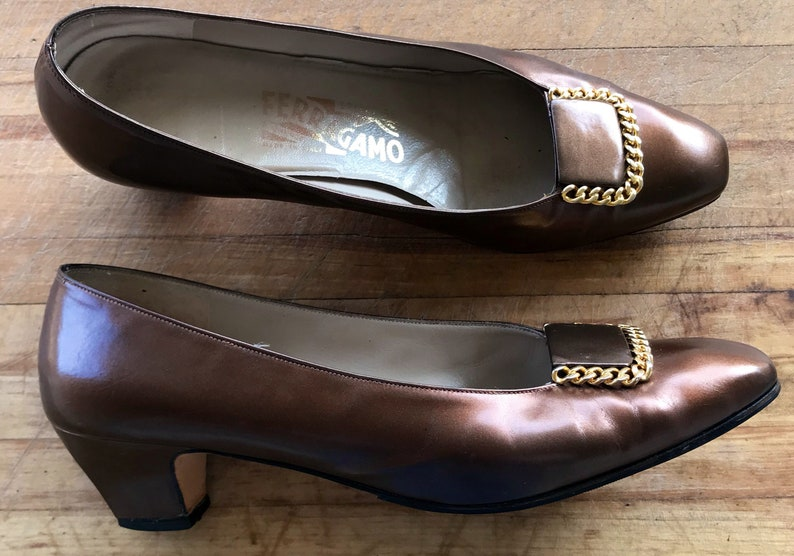 cd964c46c00ce Salvatore Ferragamo Shoes / Women's Size 9 Shoes / Leather / Brown / 90s  Style / Low Pump / Gold Buckle / Bronze / Slip On / Free Shipping