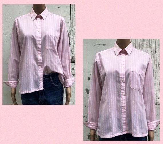 Pink Striped Blouse 1980s Dress Shirt Women's Dres