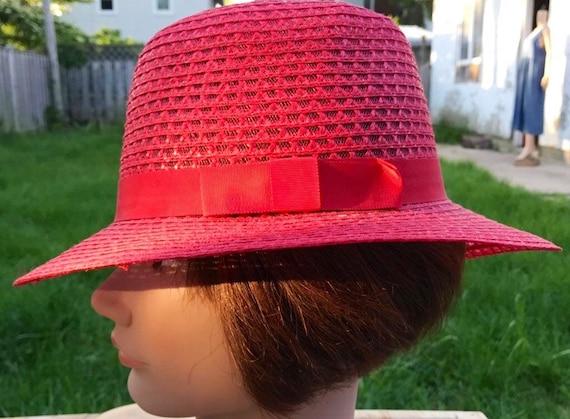 Straw Hat Women's Vintage Hat Red Straw Hat Derby