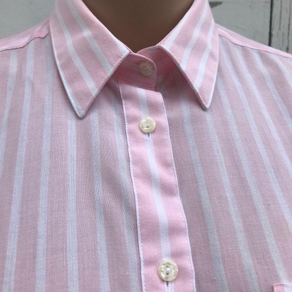 Pink Striped Blouse 1980s Dress Shirt Women's Dre… - image 3