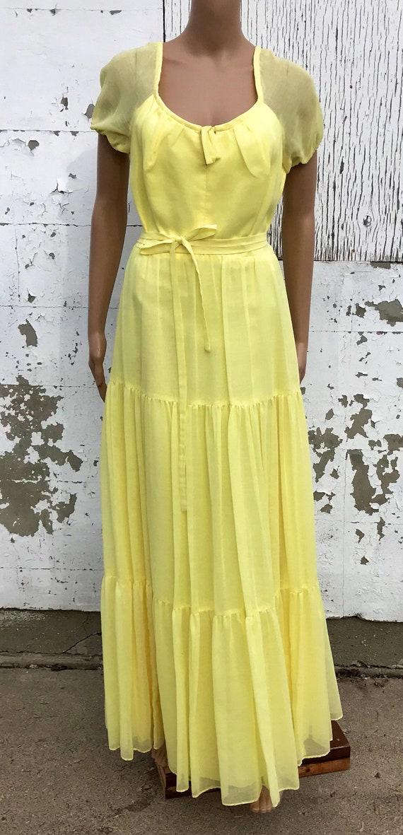 78a529658c Vintage Dress   Maxi Dress   Yellow Dress   Southern Belle