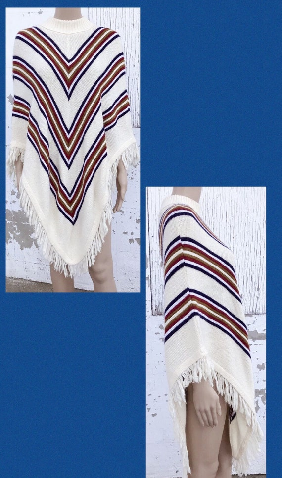 Poncho 70s Stripe Knit Vintage Poncho Hippie Cloth